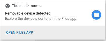 Chromebox USB flash drive notification.